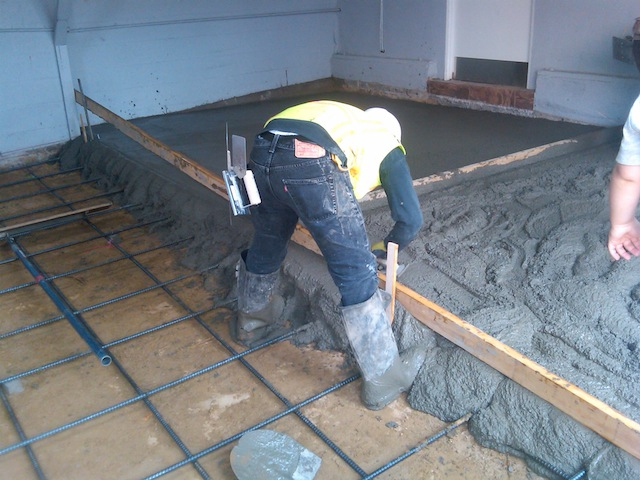 pouring concrete garage floor wood floors